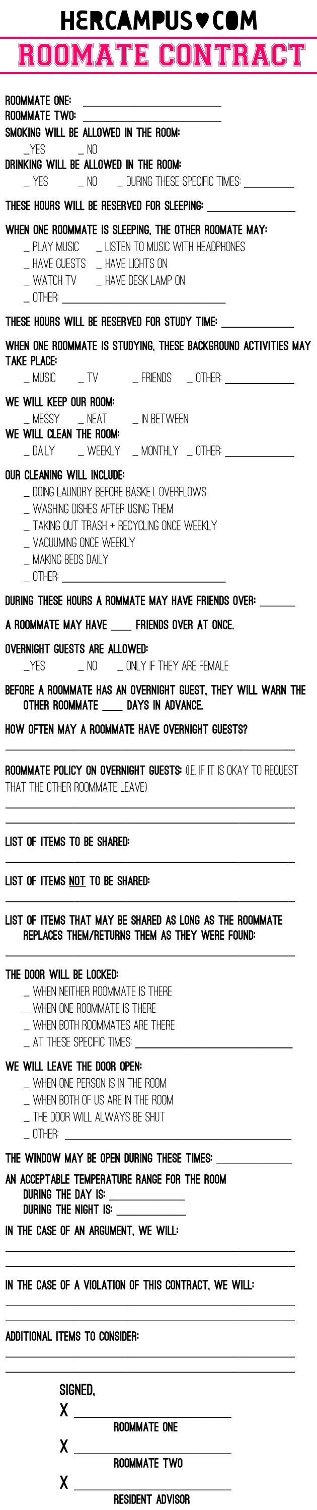 More Roommate Agreement Samples. Roommateagreement2. YRofb   Imgur