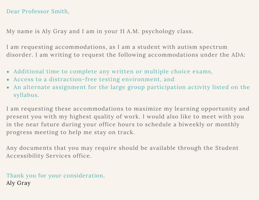 accomodations letter