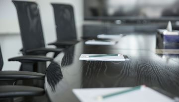A table in a board room.