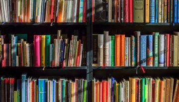 Several shelves are filled with brightly colored books. Their spines are illuminated by sunlight coming in from a window out of frame.